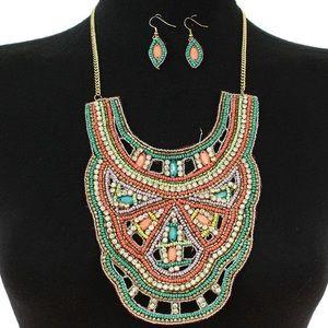 Bohemian Beaded Bib Necklace