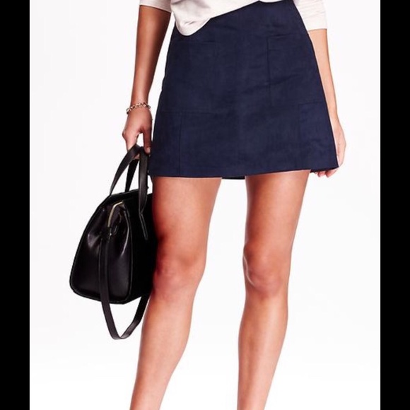 a043b144ec5 Old Navy faux suede navy blue mini skirt
