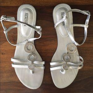 KENNETH COLE | Metallic silver, embellished sandal