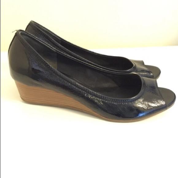 8c94b2ac1e Cole Haan Shoes | Black Peep Toe Wedges | Poshmark