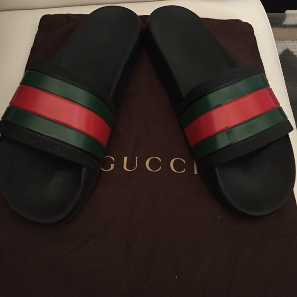 7345308ee0afe7 Gucci Other - Gucci rubber slides mens sz 6 black -red -green