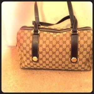 Gucci Handbags - Gucci GG fabric bag with leather handles handbag