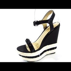 NWOB Shoe Republic La faux leather wedge sandal