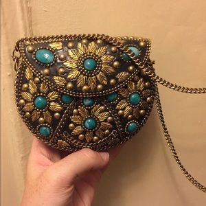 Handbags - Gold/Turquoise Shoulder Bag