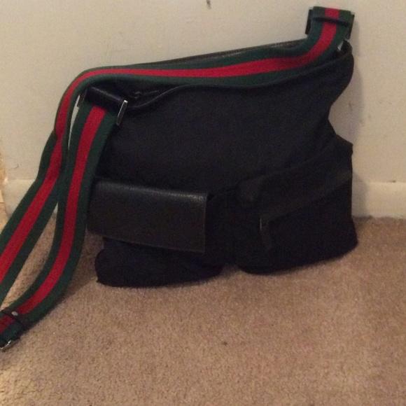 63d2bcd5291 Gucci Handbags - Gucci black gg w red green strap cross body bag