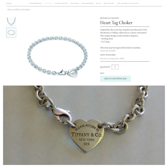 7d2eef3c0 Authentic Sterling Tiffany & Co Heart Tag Choker. M_56e855deeaf03071660079f4