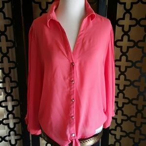 CORAL BLOUSE WITH FRONT TIE