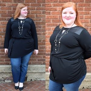 Black Asymmetrical Cinched Tunic Top