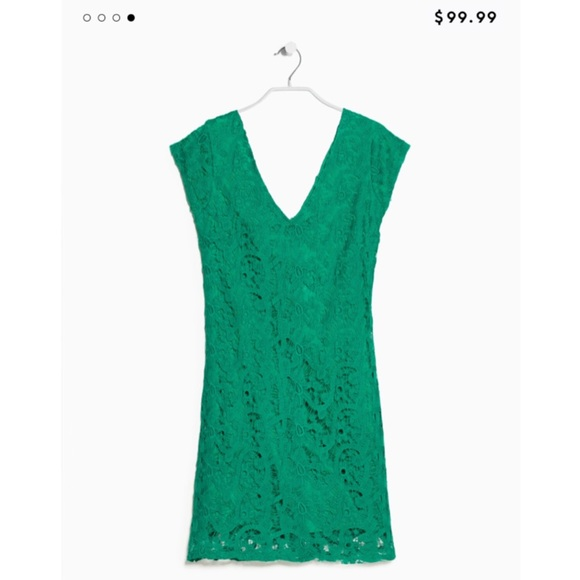 Mango Dresses | Lace Dress In Emerald Green | Poshmark
