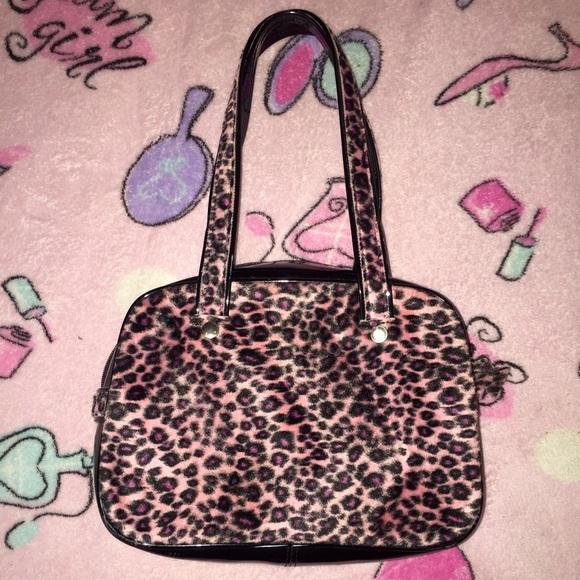 6aca0f4d87da dolls kill Handbags - Pink Leopard  Cheetah Print Fuzzy Faux-fur Bag