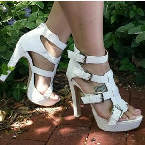Shoe Dazzle Shoes - White high heel sandals