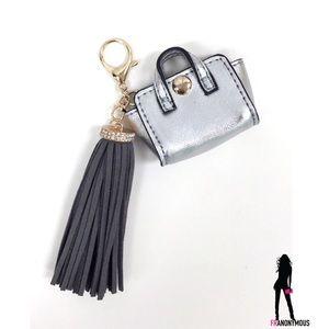 "Melie Bianco Handbags - Silver ""Handbag"" Handbag Charm with Black Tassel"
