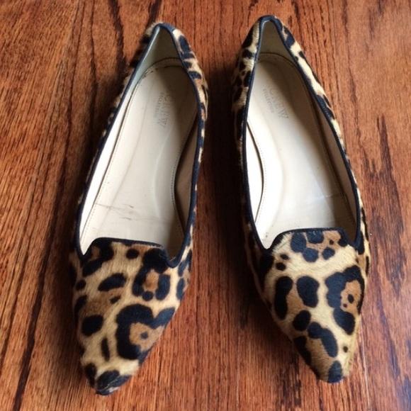 J. Crew Calf Hair Harper Leopard Flats, Sz 7.5