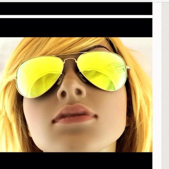 Ray Ban yellow mirrored aviator sunglasses NIB eb27c910b