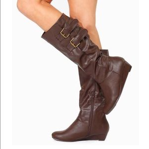 Shoes - Faux Leather Double Buckle Wedge Boots