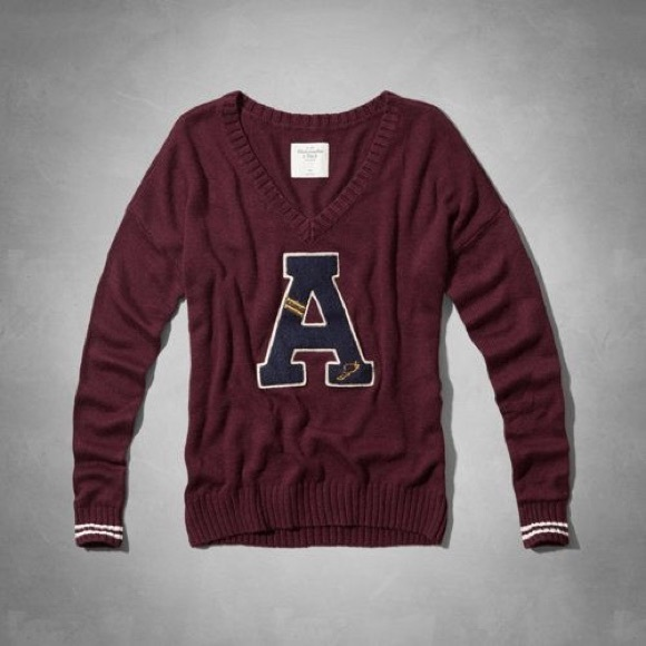 abercrombie fitch sweaters varsity letter sweater