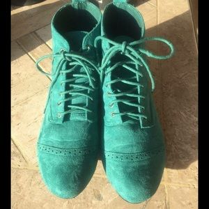 Traffic Shoes - Teal Suede Like Ankle Tie Up Booties