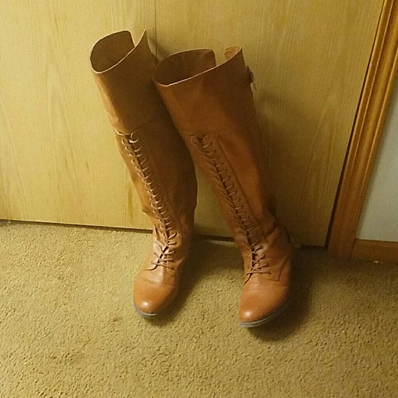 8624dab6f23 Torrid over the knee lace up brown boots