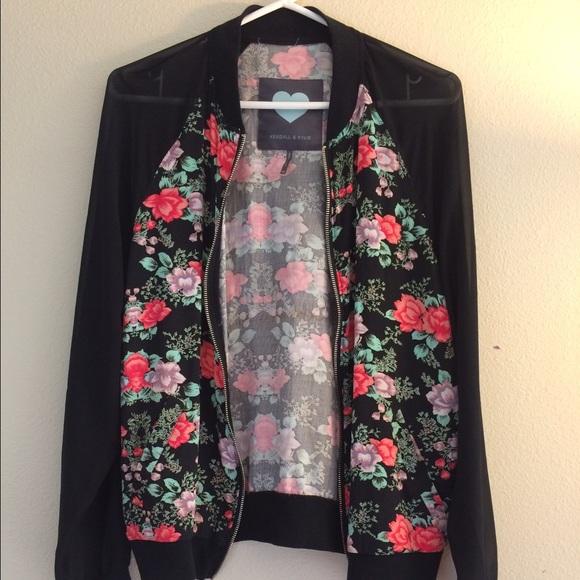 7ad54d02d Kendall & Kylie Jenner Floral Bomber Jacket