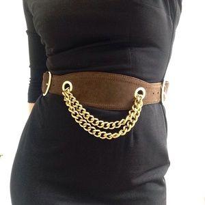 Linea Pelle Accessories - Linea Pelle suede and gold chain belt NWOT sz M