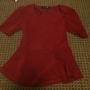 Red peplum forever21 top