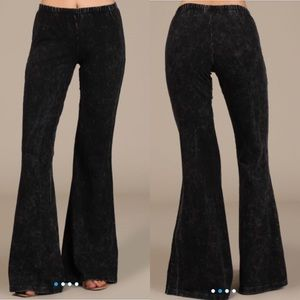 Pants - Mineral Washed Bell Bottoms-BLACK