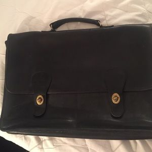 Coach black leathr briefcase gold hardware unisex
