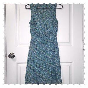 Aqua Dress with Bird and Floral Print