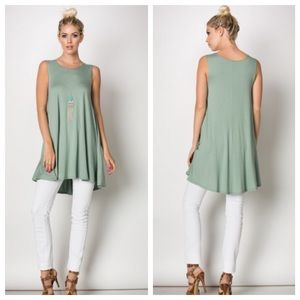 JUST IN✨Soft Moss Green Jersey Knit Staple Tunic