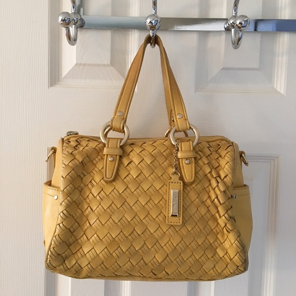3ad5278eb77 Cole Haan Handbags - 🛍 Cole Haan Woven Leather Yellow Tote Bag