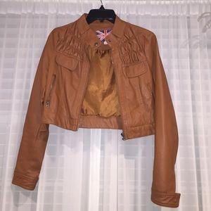 Chestnut crop leather jacket