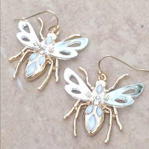 Jewelry - Two Tone Mirrored Moving Bumble Bee Drop Earrings