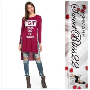 Tops - 💄TGIF Thank God I'm Flawless Top( Burgundy)