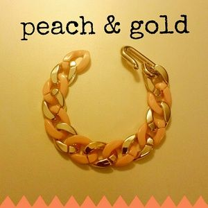 Jewelry - Peach & Gold Chunky Bracelet