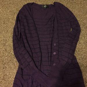 Plum and black striped cardigan