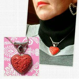 sajen  Jewelry - ♥️Sajen Cinnabar & Ruby Heart Pendant Sterling