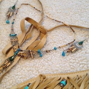 Jewelry - ❄️Boho Bead & Turquoise Necklace & Earrings