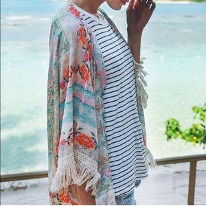 wila Sweaters - NEW🍃 Boho print Tassel fringe floral kimono pink