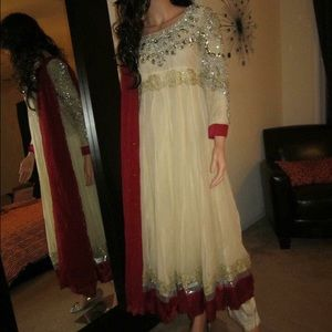 Dresses & Skirts - Desi Formal Dress Ivory & Red Small - 2Piece