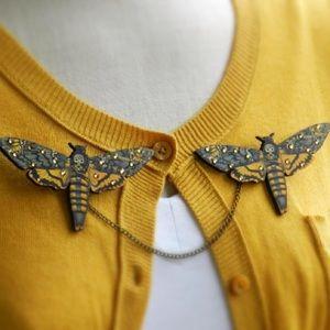 Abbie's Anchor Jewelry - Deaths Head Death Moth Sweater Guard Brooch/Pin