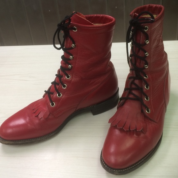 059aa0afc60 Vintage Classic Red Lace Up Roper Boots