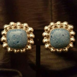 Vintage 925 Sterling Turquoise Clip On Earrings