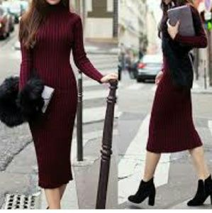 Ladies Bodycon midi sweater dress Large