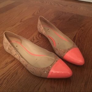 Kate Spade Elina Flat cork and hot pink accents
