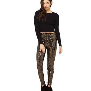 Pants -  NEW Leopard Gold Sequin Leggings Small or Medium