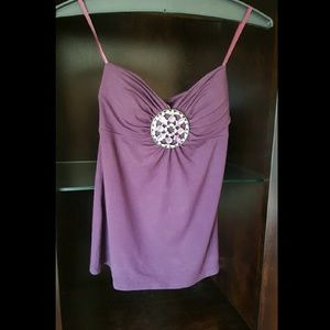 Cache  Tops - Cache purple strapless top with rhinestone detail