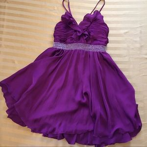 Purple Beaded F21 Satin-look Party Dress 