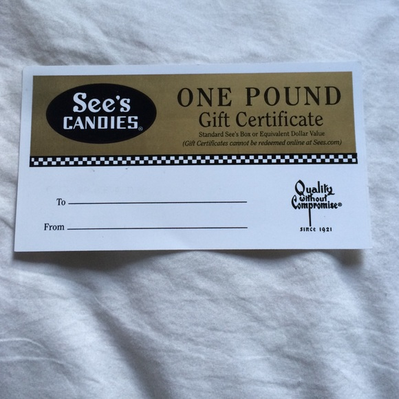 38% off See's Candies Other - 1 pound sees candy gift certificate ...