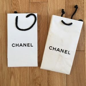 Chanel white shopping bags