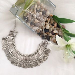 LAST ONE Vintage Boho Coin Statement Necklace